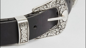 Leather double buckle belt