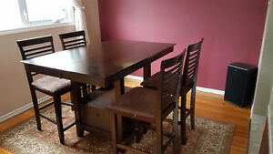 Bar Style Kitchen Table with Four Chairs