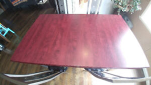 Cherry Wood Modern Dinner Table & 4 Chairs