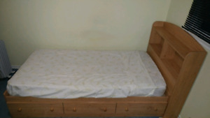 4 piece bedroom set by mate (1 bed, 2 dressers, 1 nightstand)