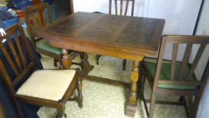 Antique wooden table and chairs
