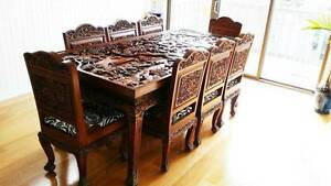 Hand crafted in Thailand Solid Teak 8 piece dining table & Chairs Grovedale Geelong City Preview
