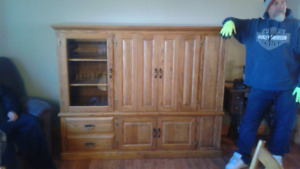 Oak wall unit  TV. Sterio cabinet.