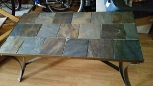 """""""santa Fe slate"""" steel and slate table with extra marble top"""