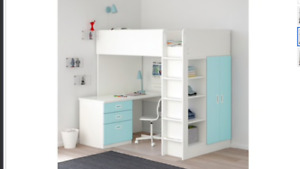 IKEA Loft bed with 3 drawers/2 doors, white, light blue, Twin