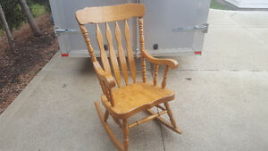 Large Solid Oak Rocking Chair For Sale