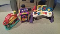 Weebles toy, Musical learning cube and Fisher Price piano
