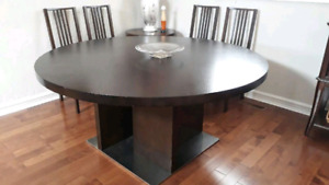 Hardwood and Stainless Steel Dining Table