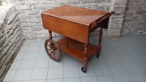 VINTAGE WOODEN TEA CART KNECHTEL TABLE