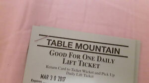 Single Day Use Table Mountain Lift Tickets