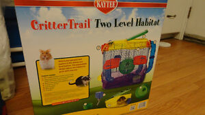 hamster cages and food shavings
