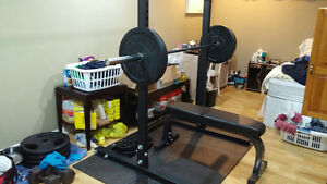 Selling Squat Rack/Olympic Barbell/ Weights /Bench/Dumbells!