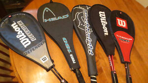 Lot of 5 Squash Racquets Wilson Head Black Knight Ect Like new