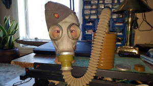 East Germany Cold War Gas Mask w/canister/Cap & Mani can Head.