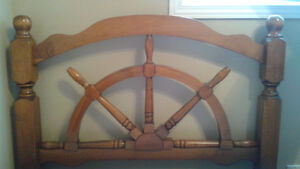 Nautical wood headboard single bed