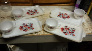 Pyrex anchor hocking tea and biscuit set
