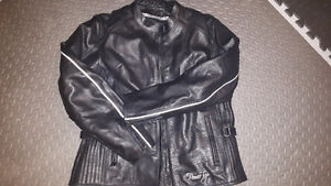 Blk leather motorcycle jacket