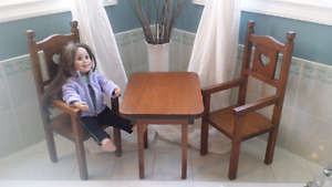Antique doll table and chairs  (doll not included)