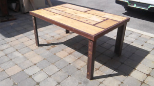 Trendy industrial table (wood and metal)