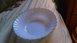 Anchor Hokings and Fire King Milk Glass Bowl With Gold Trim