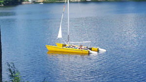 Beautiful and fast 17 ft Mystere S Catamaran on Leonard Lake
