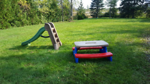 Little tykes foldable kids picnic table and plastic slide