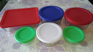 Pyrex and Anchor Glass Containers with Lids