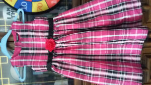 Checkered pink dress size 6 for girls