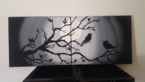 Birds and moonlight: hand painted