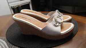 White Wedge sandles $10, new never worn size 8