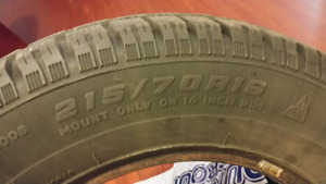 Excellent 215/70R16 Snow/Winter/Ice Tires
