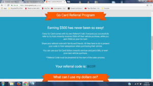 GO AUTO CARD REFERRAL CODE $500 BO3R