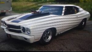 77 chevelle drag car,