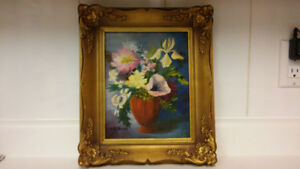 Vintage flowers oil painting