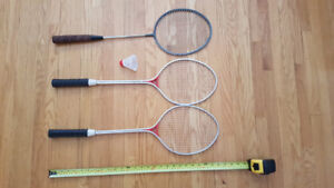 Badminton rackets. Official size – 26 inch shafts with grommets