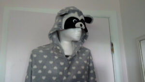 soft adult raccoon onesie pajama, XL