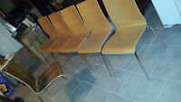 6 Contemporary Birch Veneer and Chrome Plated Chairs