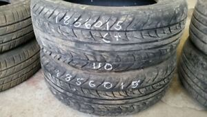 Pair of 2 Uniroyal Tiger Paw AS 185/60R15 tires (65% tread life)