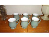 Denby Regency Green Craftsman's Mugs x 6