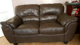 2 + 3 Brown Leather Sofas