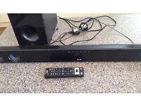 Sound bar and sub woofer.