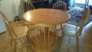 WOOD TABLE WITH 5 CHAIRS