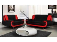 BEST SELLING BRAND- BRAND NEW CAROL LEATHER 3+2 SEATER SOFA IN BLACK AND RED / GREY AND WHITE COLOR