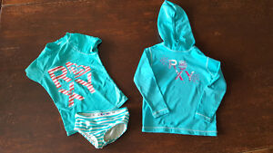 Roxy size 2T bathing suit and hooded swim shirt