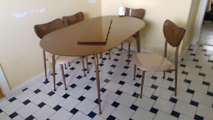 60s Vintage Perfect Chrome Furniture Table & 6 Chairs