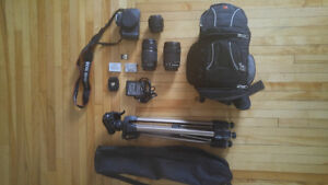 Canon Rebel t5i with three lenses and accessories