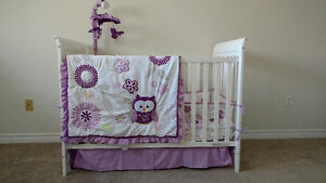 Baby Crib with mattress and bedding with mobile