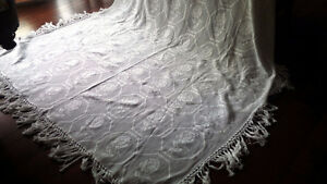 Beautiful Vintage Crocheted or Tatted Bedspread