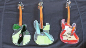 Beach glass/stained glass guitar suncathers by Deb Humen
