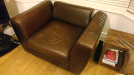 Wide brown leather armchair/mini sofa/loveseat